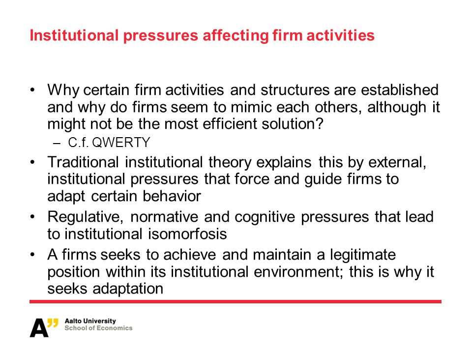 Institutional pressures affecting firm activities