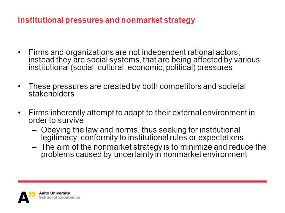 Institutional pressures and nonmarket strategy
