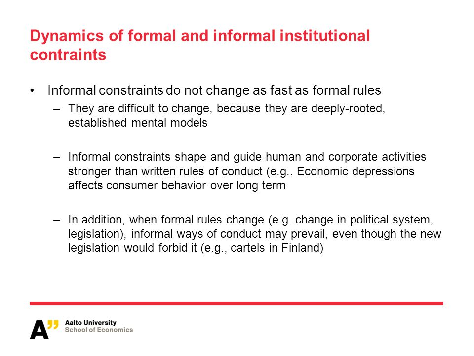 Dynamics of formal and informal institutional contraints