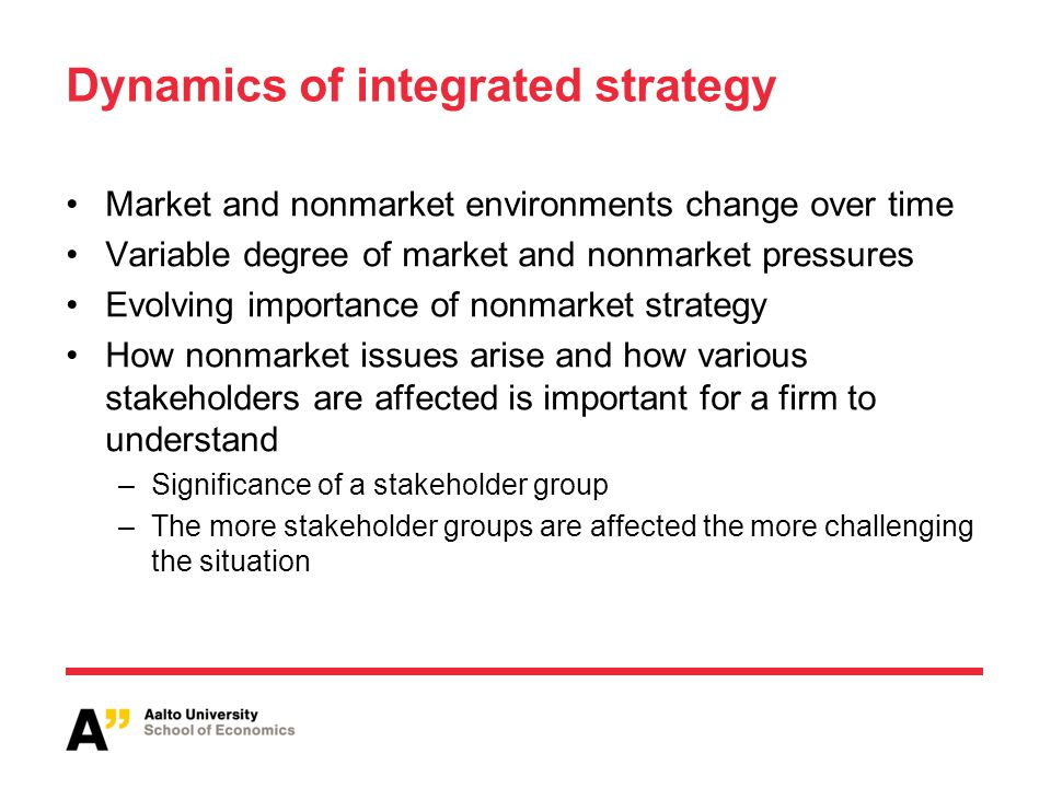 Dynamics of integrated strategy