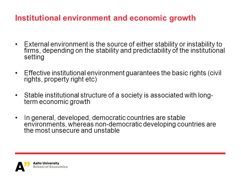 Institutional environment and economic growth