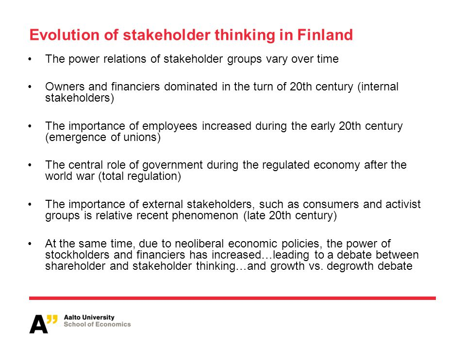 Evolution of stakeholder thinking in Finland