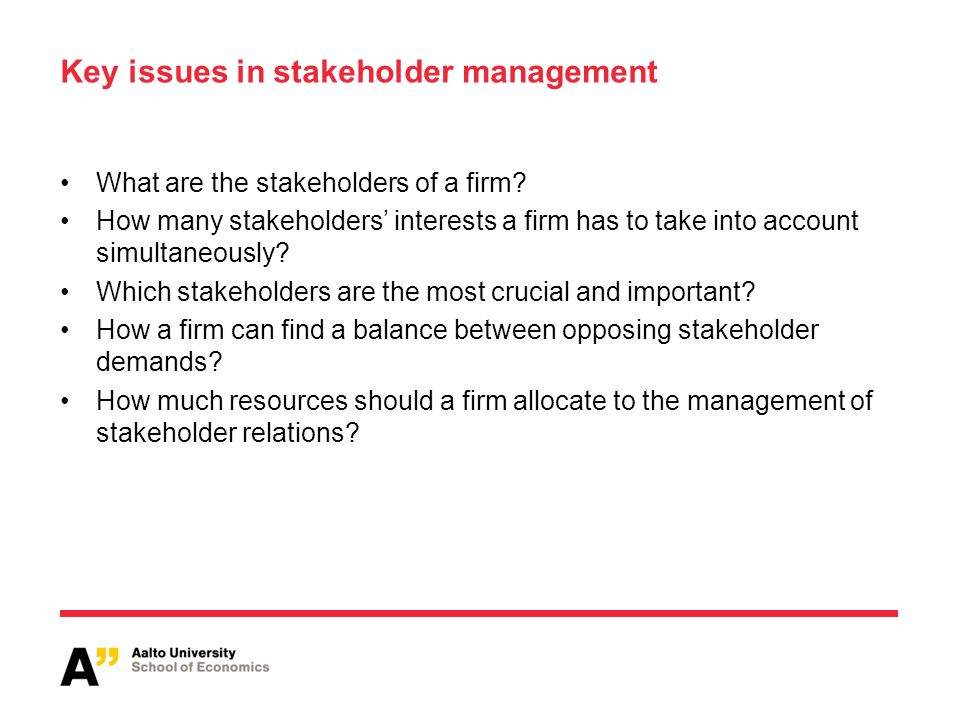 Key issues in stakeholder management