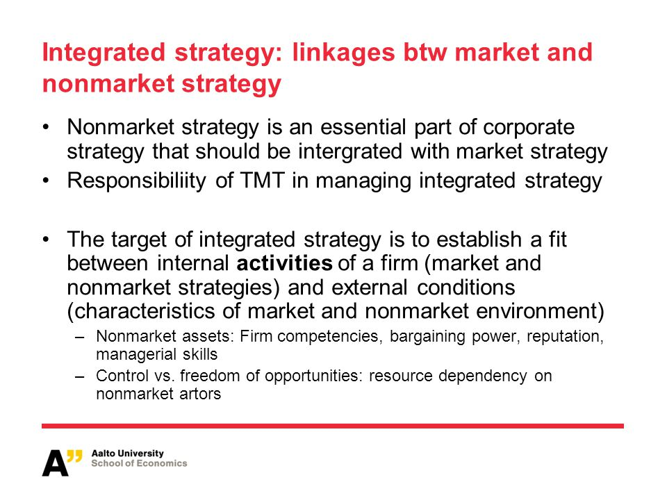 Integrated strategy: linkages btw market and nonmarket strategy