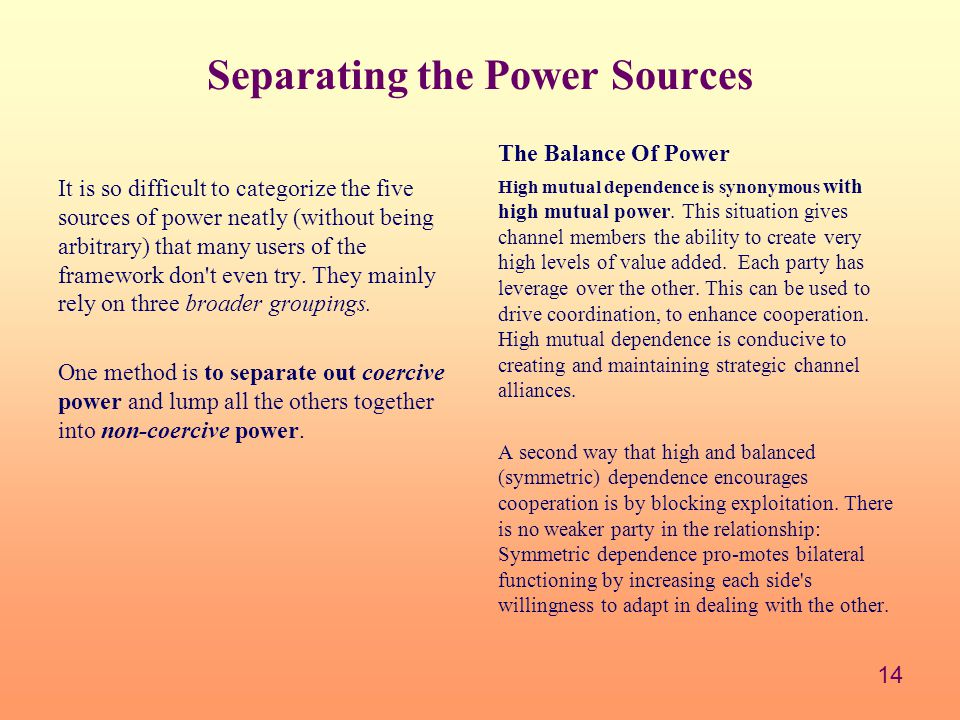 Separating the Power Sources