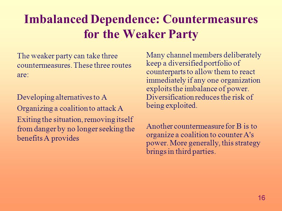 Imbalanced Dependence: Countermeasures for the Weaker Party