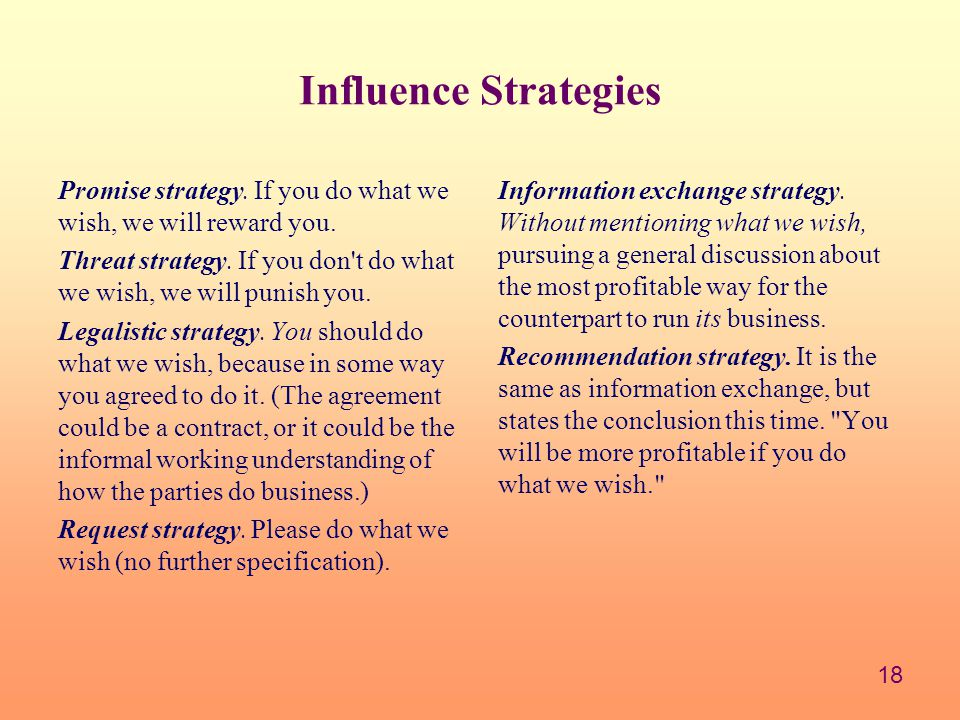 Influence Strategies Promise strategy. If you do what we wish, we will reward you.