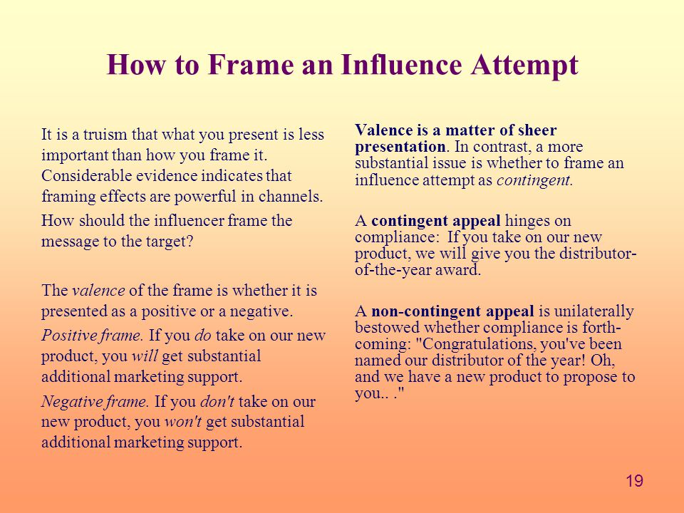 How to Frame an Influence Attempt