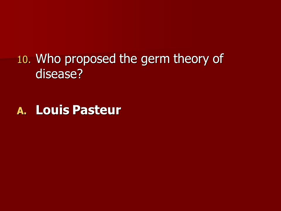 Who proposed the germ theory of disease