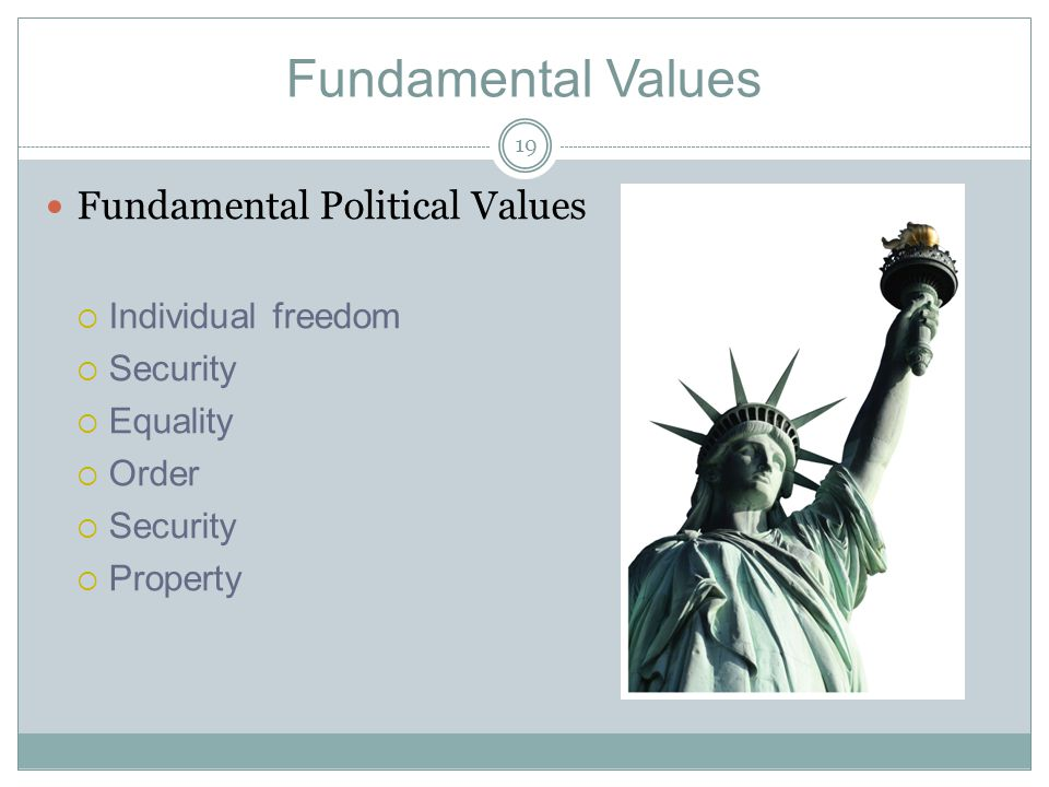 Fundamental Values Fundamental Political Values Individual freedom