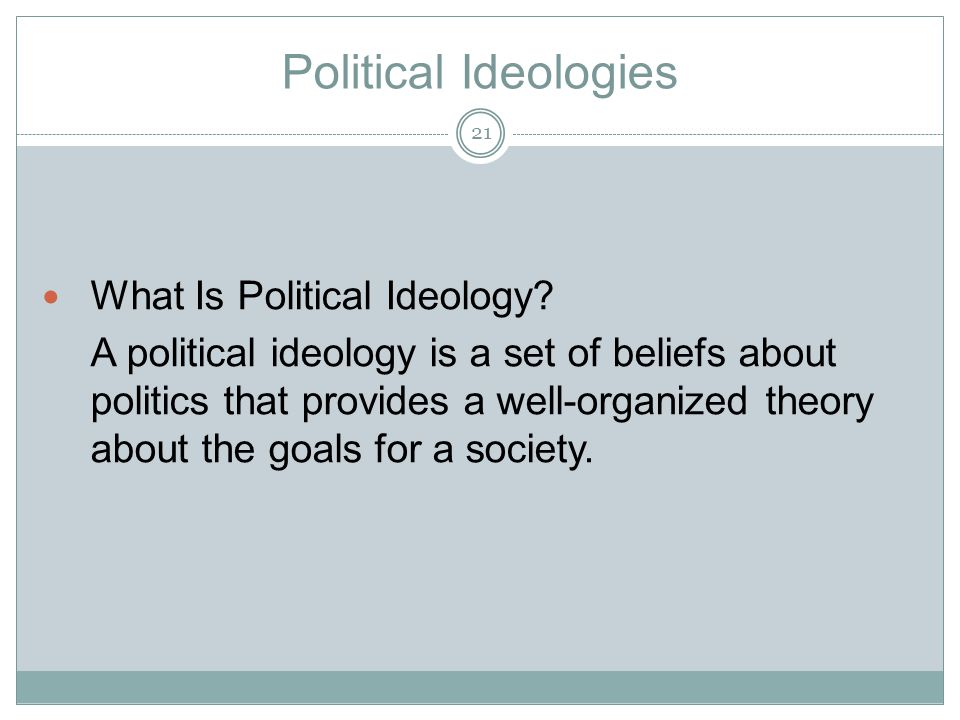 Political Ideologies What Is Political Ideology