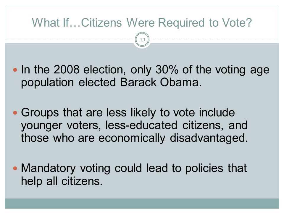 What If…Citizens Were Required to Vote