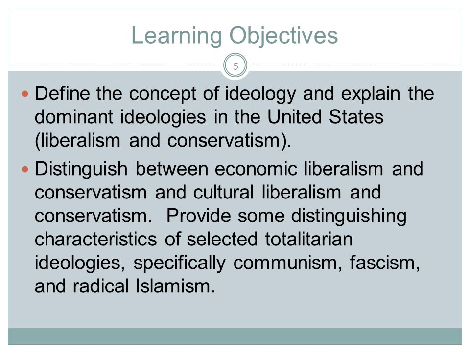 Learning Objectives Define the concept of ideology and explain the dominant ideologies in the United States (liberalism and conservatism).