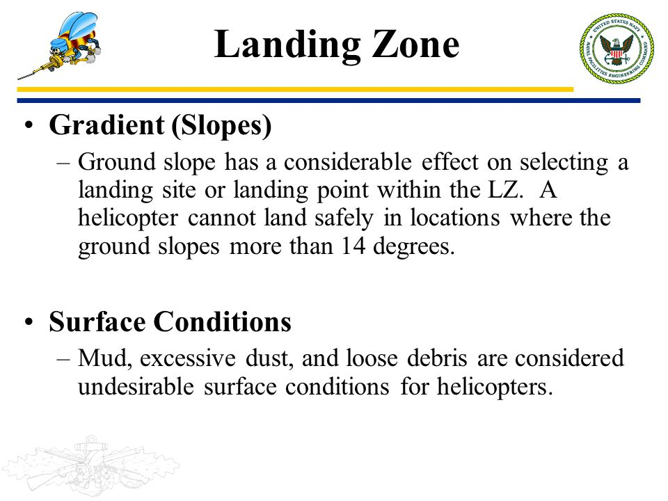 Landing Zone Gradient (Slopes) Surface Conditions