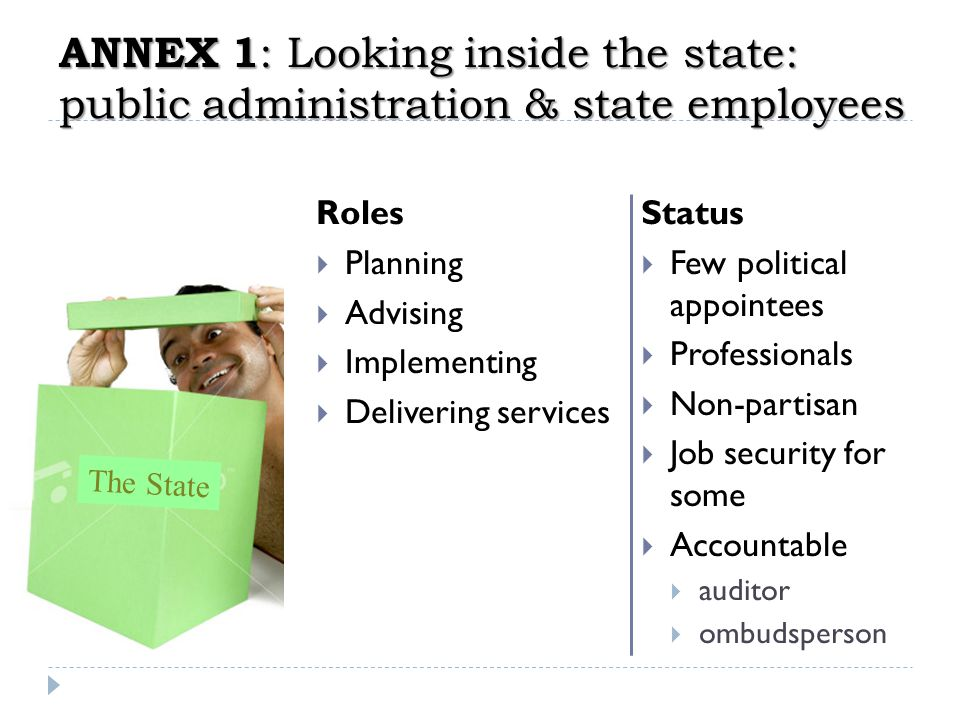Annex 1: Looking inside the state: public administration & state employees