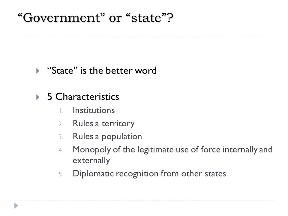 Government or state