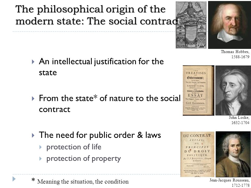 The philosophical origin of the modern state: The social contract