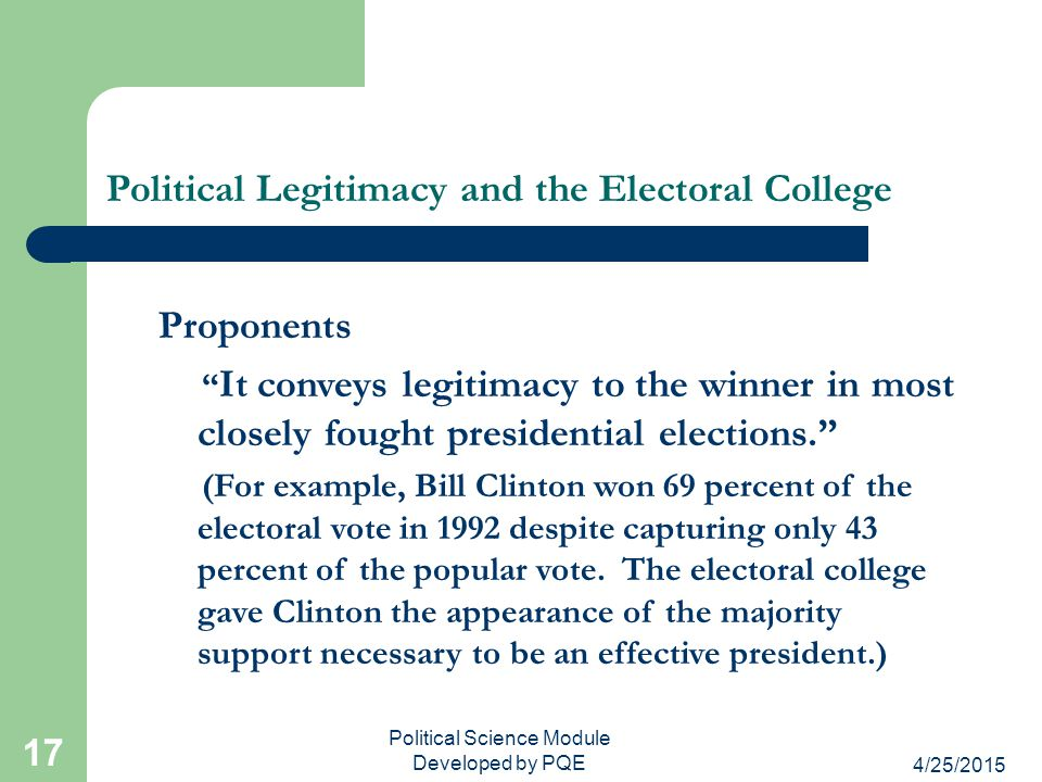 Political Legitimacy and the Electoral College