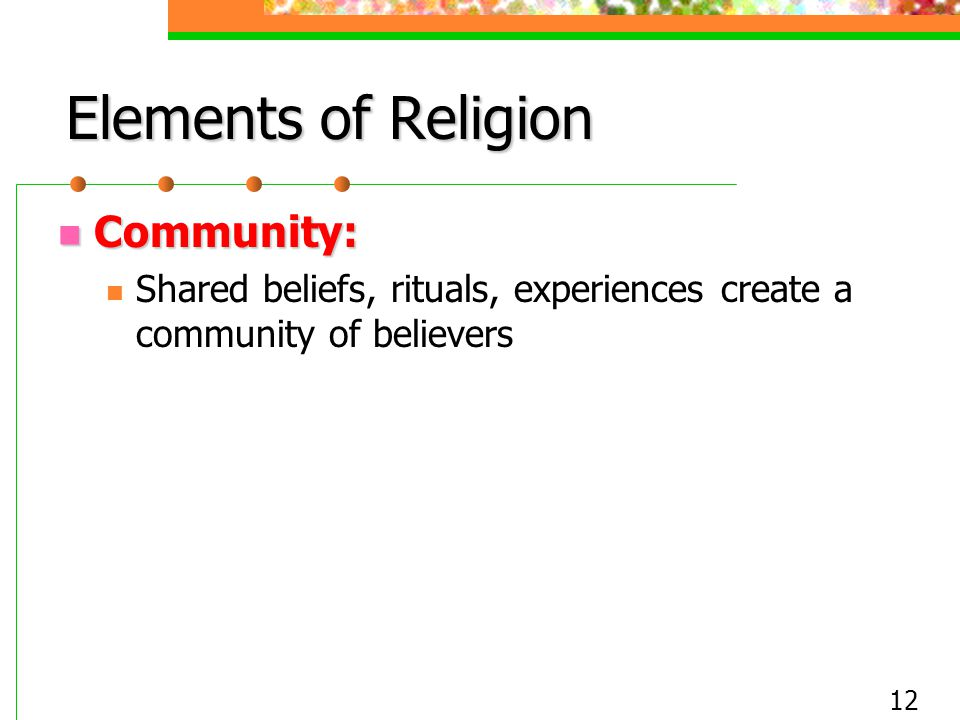 Elements of Religion Community: