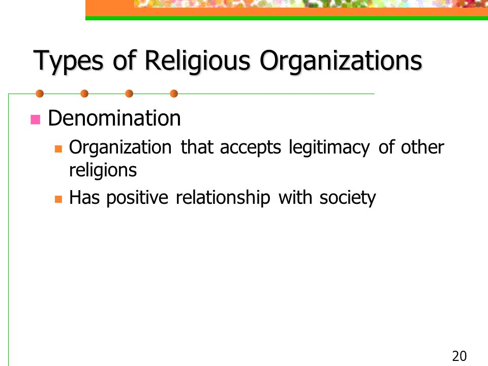 Types of Religious Organizations