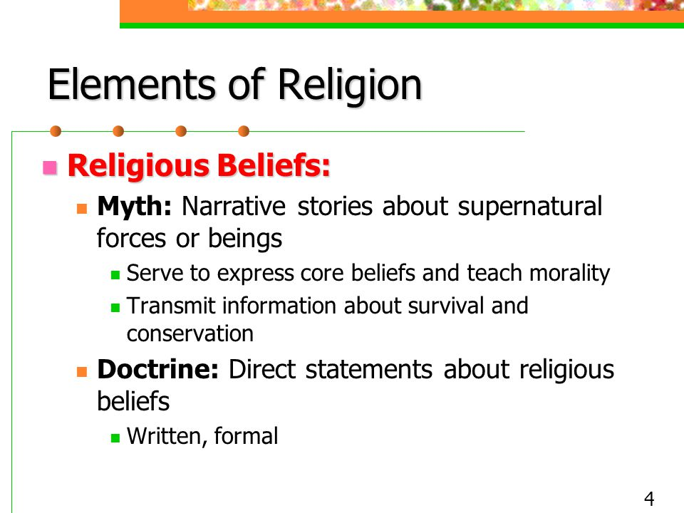 Elements of Religion Religious Beliefs: