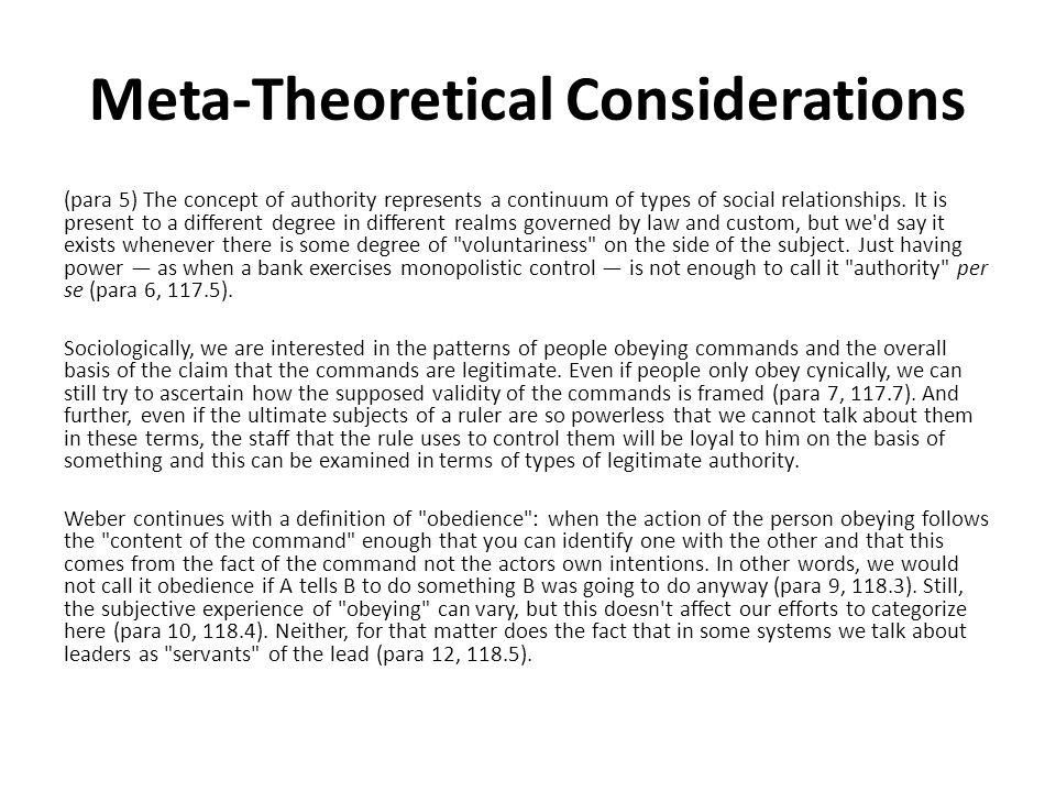 Meta-Theoretical Considerations