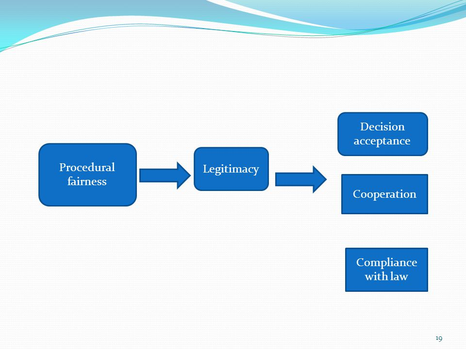 Decision acceptance Procedural fairness Legitimacy Cooperation Compliance with law