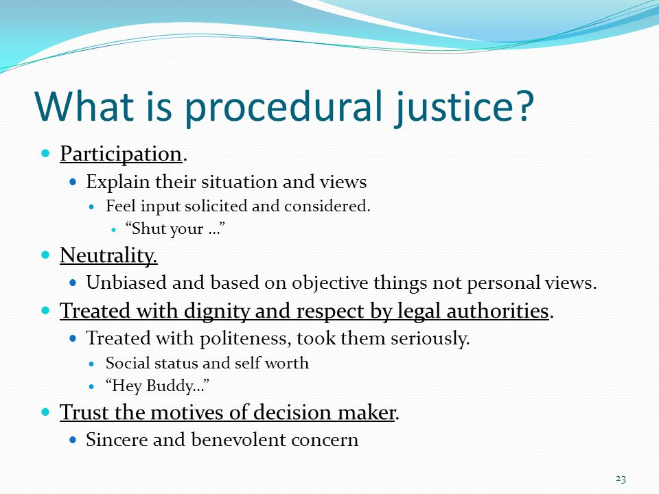 Procedural Justice and Police Legitimacy