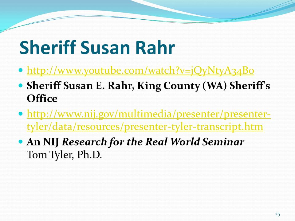 Sheriff Susan Rahr http://www.youtube.com/watch v=jQyNtyA34Bo