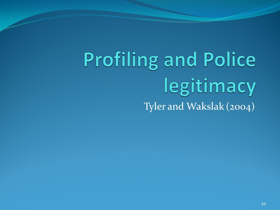 Profiling and Police legitimacy