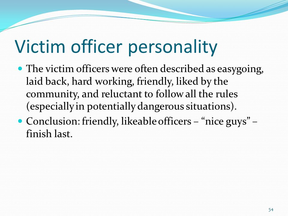 Victim officer personality