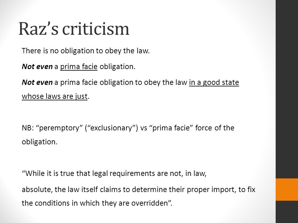 Raz's criticism