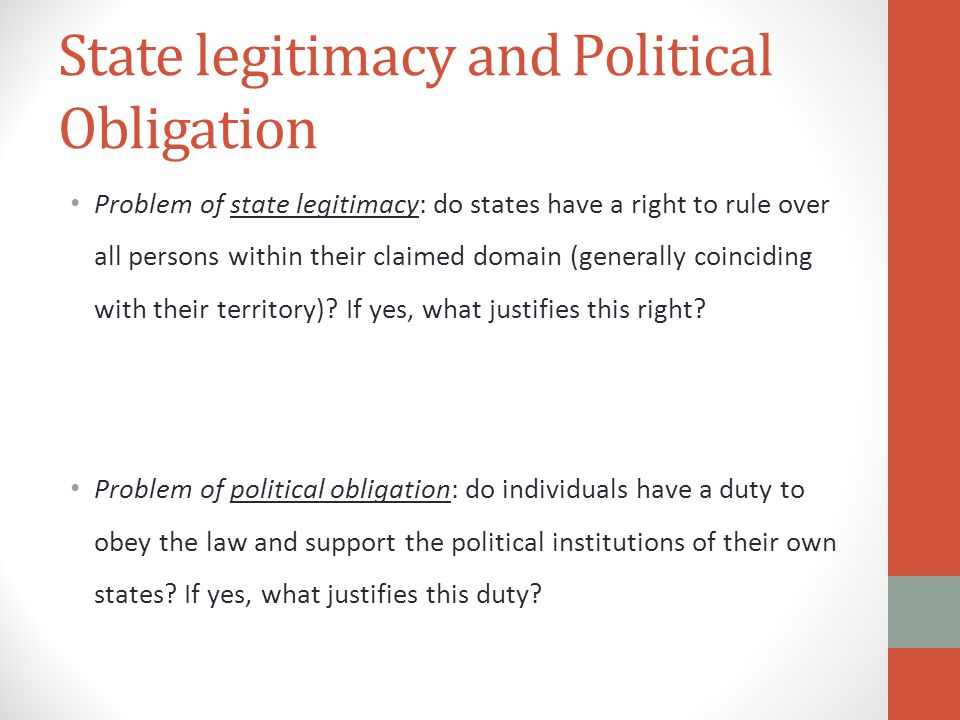 State legitimacy and Political Obligation