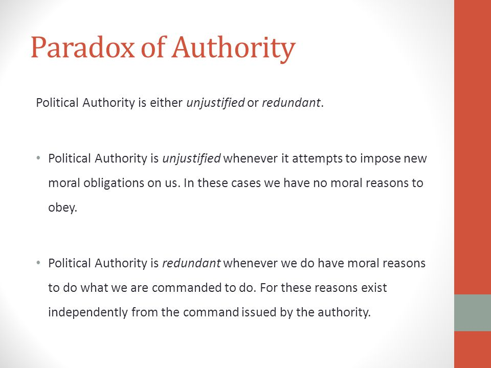 Paradox of Authority Political Authority is either unjustified or redundant.