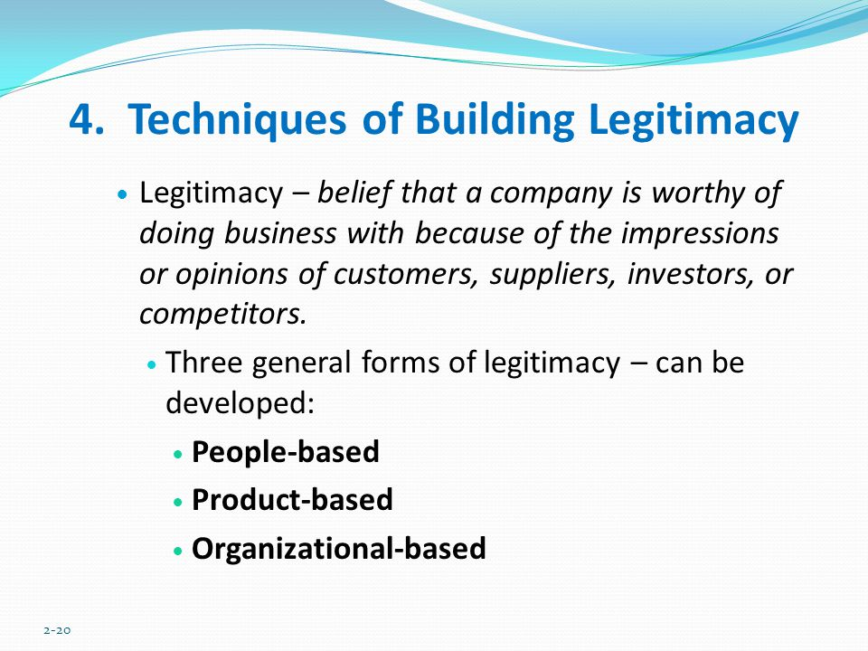 4. Techniques of Building Legitimacy