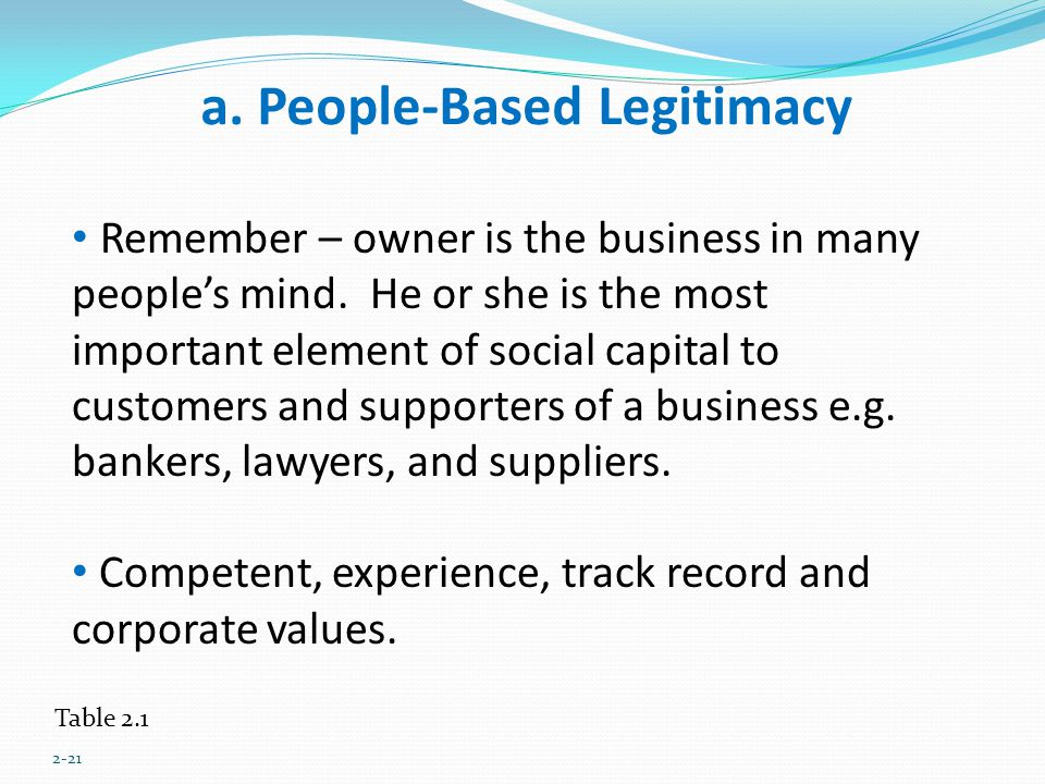 a. People-Based Legitimacy