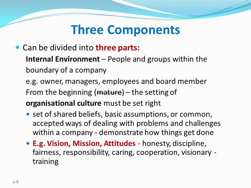 Three Components Can be divided into three parts: