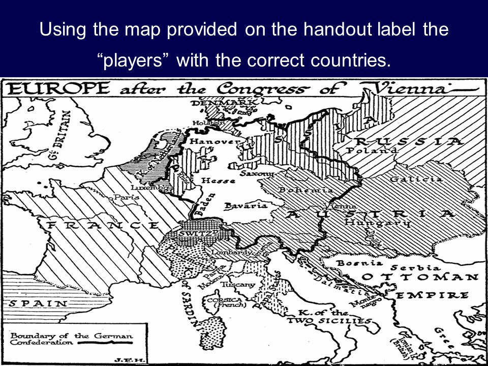 Using the map provided on the handout label the players with the correct countries.