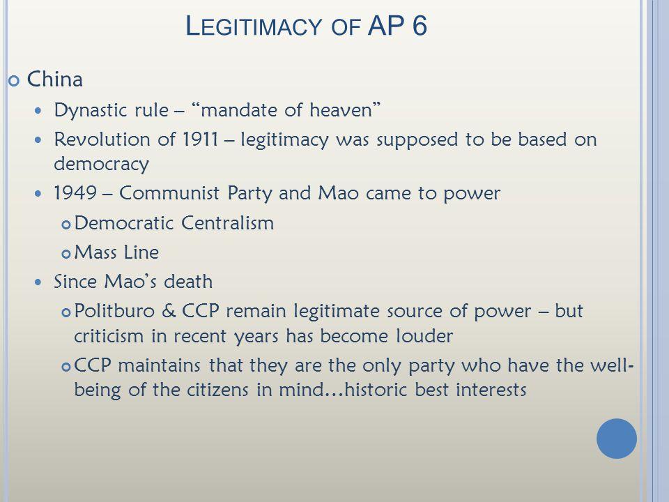 Legitimacy of AP 6 China Dynastic rule – mandate of heaven