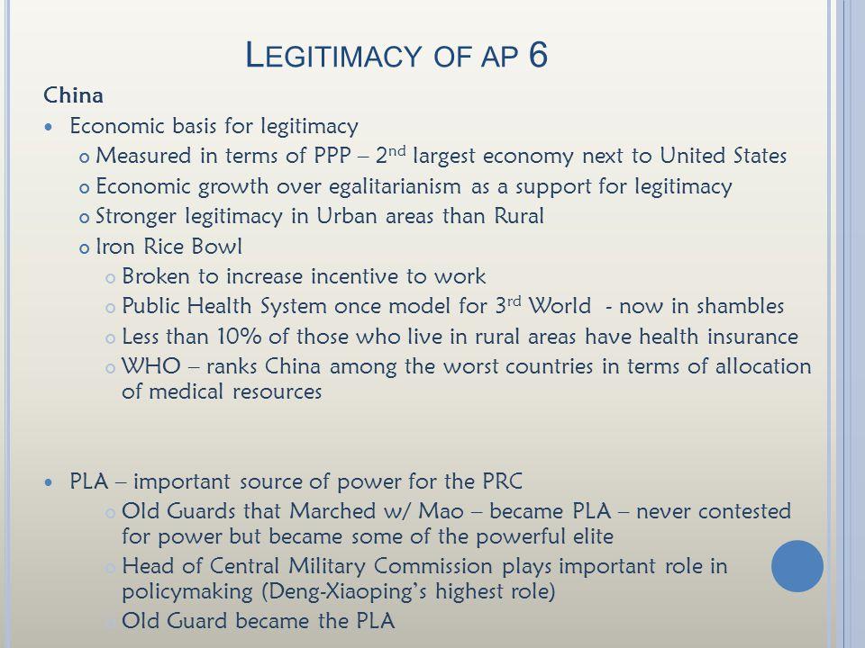 Legitimacy of ap 6 China Economic basis for legitimacy
