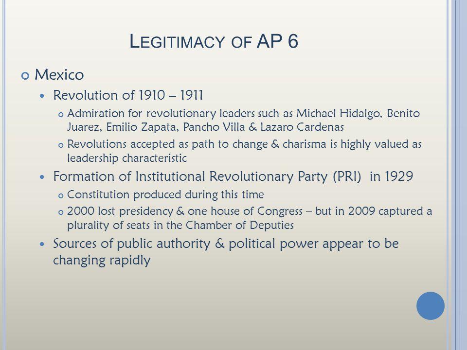 Legitimacy of AP 6 Mexico Revolution of 1910 – 1911