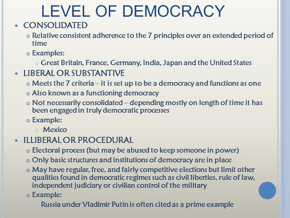 LEVEL OF DEMOCRACY CONSOLIDATED LIBERAL OR SUBSTANTIVE