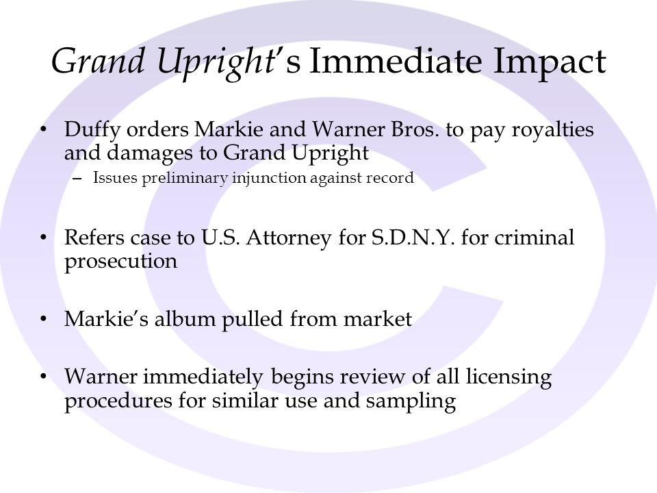 Grand Upright's Immediate Impact