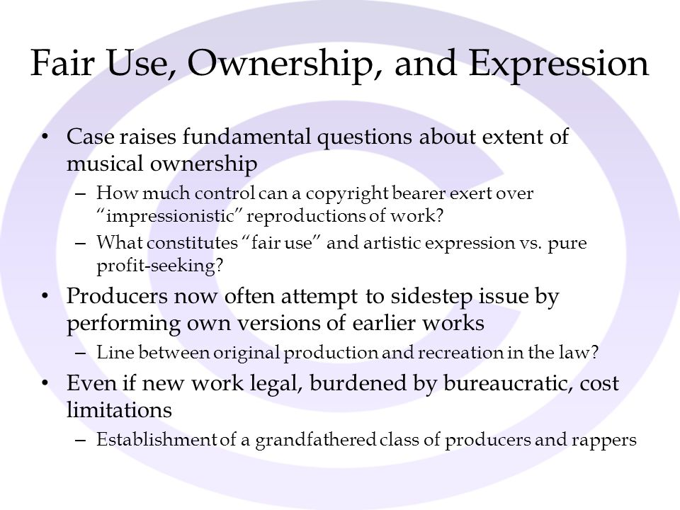 Fair Use, Ownership, and Expression