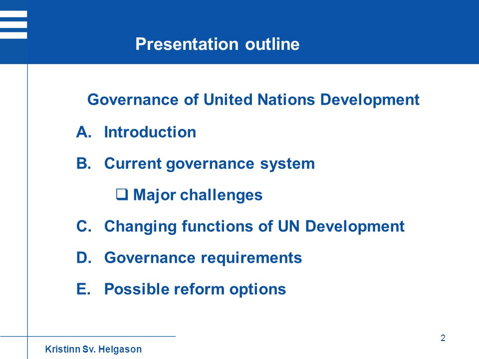 Governance of United Nations Development