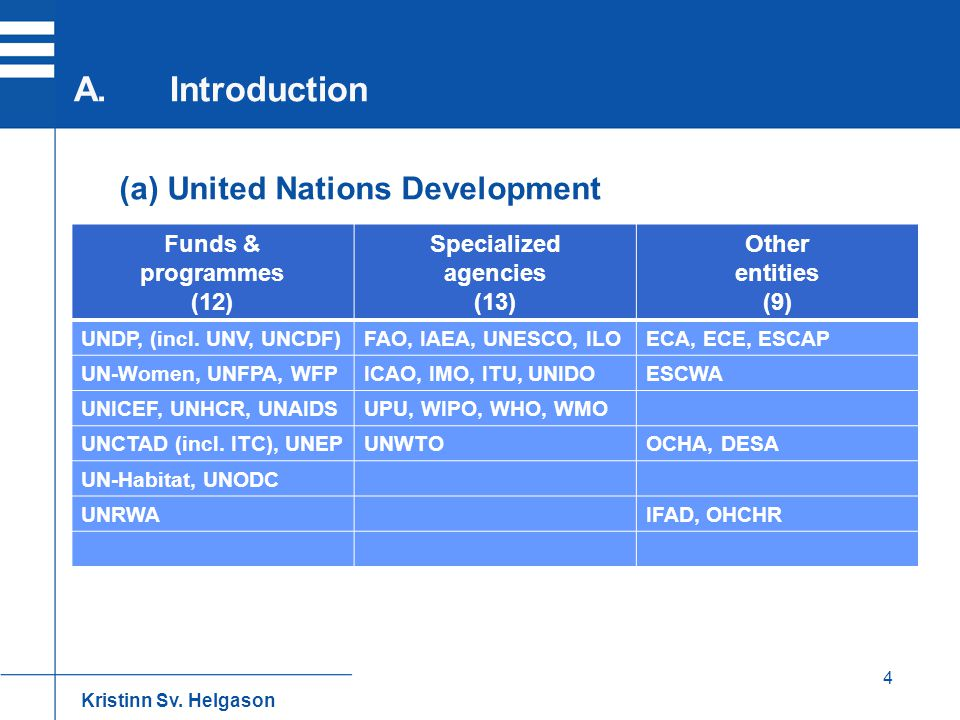 A. Introduction (a) United Nations Development 4 Funds & programmes