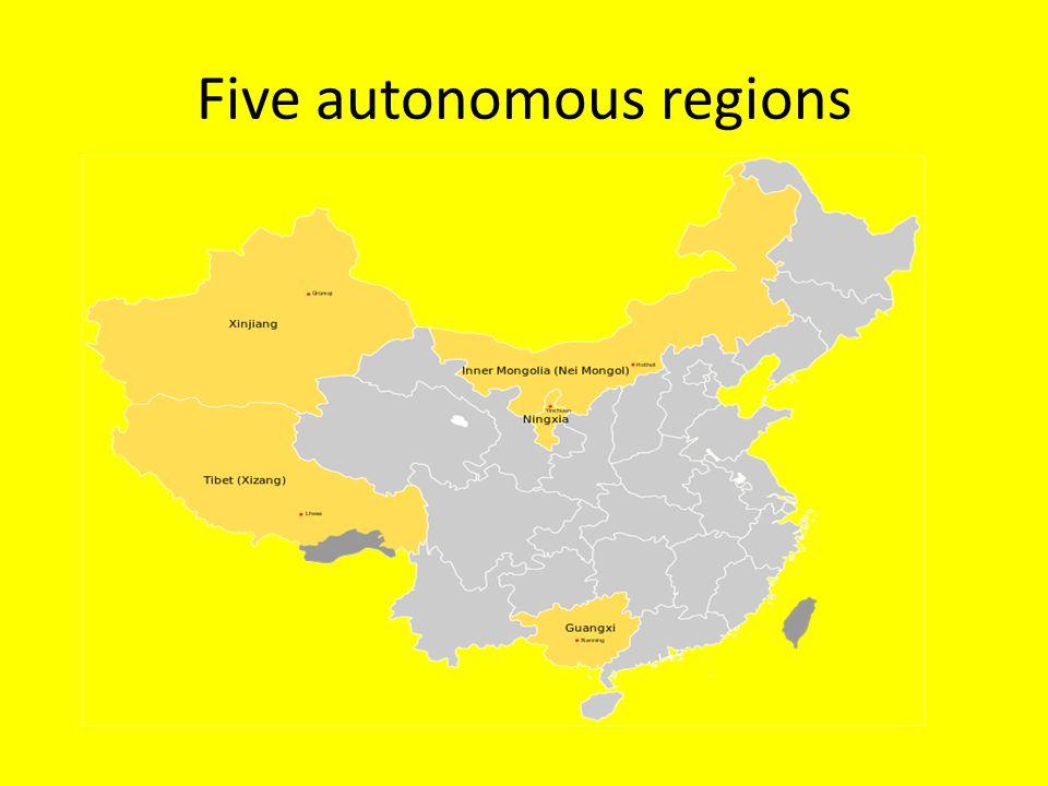 Five autonomous regions