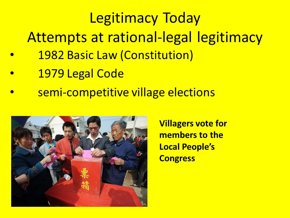 Legitimacy Today Attempts at rational-legal legitimacy