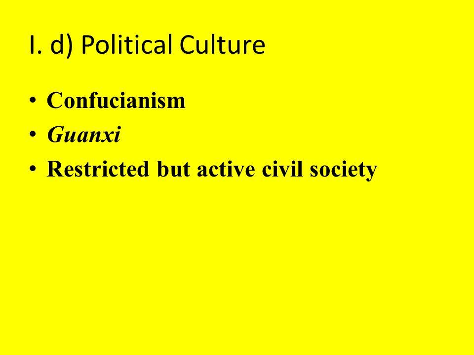I. d) Political Culture Confucianism Guanxi