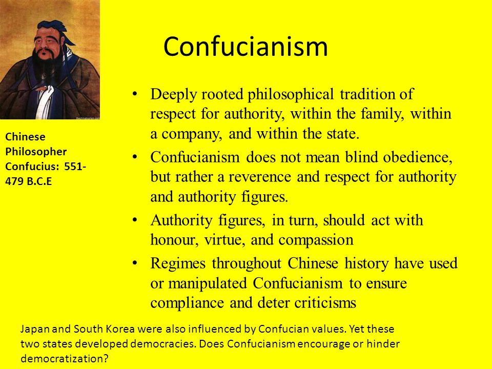 Confucianism Deeply rooted philosophical tradition of respect for authority, within the family, within a company, and within the state.